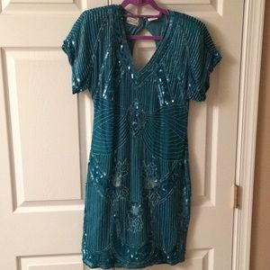 Teal sequined dress